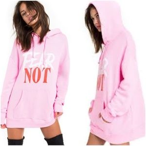 Wildfox Fear Not Pink Oversized Hoodie